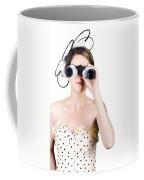 Retro Woman Looking Through Binoculars Coffee Mug