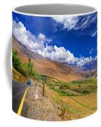 Road And Mountains Of Leh Ladakh Jammu And Kashmir India Coffee Mug