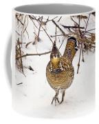 Ruffed Grouse Walking On Snow - Horizontal Coffee Mug