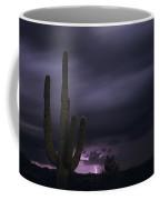 Saguaro Cactus Sunset At Dusk With Lightning Arizona State Usa Coffee Mug