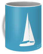 Sailboat In White And Turquoise Coffee Mug