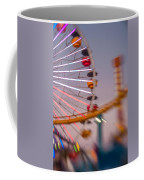 Santa Monica Pier Ferris Wheel And Roller Coaster At Dusk Coffee Mug