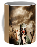 Scary Clown Doctor Throwing Knives Outdoors Coffee Mug