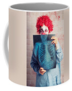 Scary Clown Peeking Behind X-ray. Funny Bones Coffee Mug