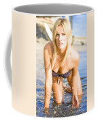 Sensuous Woman Playing With Water Coffee Mug
