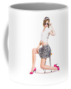 Sexy Brunette Pin Up Girl In Pink Retro Fashion Coffee Mug