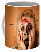 Shocked Horror Halloween Zombie With Hands Face Coffee Mug