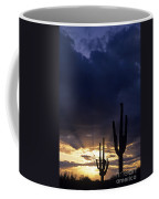Silhouetted Saguaro Cactus Sunset At Dusk Arizona State Usa Coffee Mug
