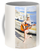 Smiling Girl Strumming Guitar At Tropical Beach Coffee Mug