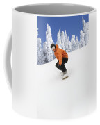 Snowboarder Going Down Snowy Hill Coffee Mug
