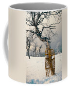 Snowshoes Leaning Against Birch Tree Snowscape Coffee Mug