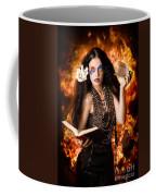 Sorcerer Casting Black Magic Spells Of Fire Coffee Mug