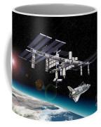 Space Station In Orbit Around Earth Coffee Mug