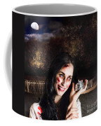 Spooky Girl With Silver Service Bell In Graveyard Coffee Mug