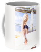 Sports Person Carrying Surf Board Outdoors Coffee Mug