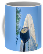Standing By The Clock On City Intersection At Charlotte Downtown Coffee Mug