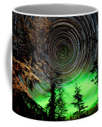 Star Trails And Northern Lights In Sky Over Taiga Coffee Mug