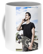 Student Talking To A Friend On Mobile Smartphone Coffee Mug