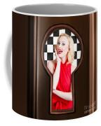 Stylish Surprised Women Portrait. Pinup Secret Coffee Mug