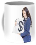 Successful Business Woman Holding Bags Of Money Coffee Mug