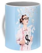 Successful Female Business Superhero Winning Money Coffee Mug