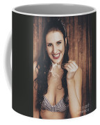 Summer Cafe Woman Eating Breakfast Cereal Coffee Mug