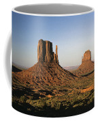 Sunset Light With Mittens And Desert In Monument Valley Arizona  Coffee Mug