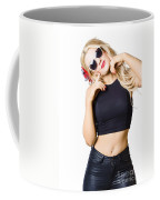 Surprised Pinup Woman Isolated On White Coffee Mug