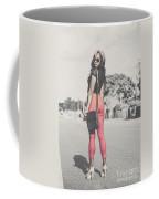 Tall Young Black Woman Modelling Handbag Accessory Coffee Mug