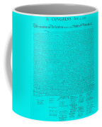 The Declaration Of Independence In Turquoise Coffee Mug by Rob Hans