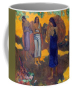 Three Tahitian Women Against A Yellow Background Coffee Mug