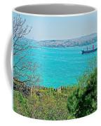 Topkapi Palace Wall Along The Bosporus In Istanbul-turkey  Coffee Mug