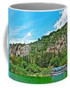 Tourboat Stops By Ancient Tombs In Daylan-turkey  Coffee Mug
