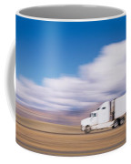 Truck On The Road, Interstate 70, Green Coffee Mug