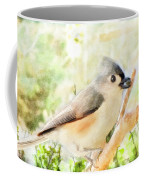 Tufted Titmouse With Seed - Digital Paint Coffee Mug