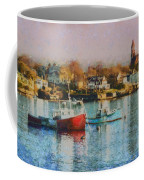 Two Lobster Boats On Marblehead Harbor With A Red Sky Coffee Mug