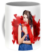 Valentines Day Woman Eating Heart Candy Coffee Mug