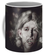 Vampire Woman Holding Flower. Horror Valentine Coffee Mug