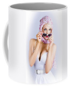 Vintage Blond Beauty In Pinup Fashion Accessories Coffee Mug
