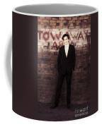 Vintage Salesman Standing In Front Of Brick Wall Coffee Mug