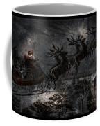 Vintage Santa Stormy Midnight Ride Reindeer Sleigh Coffee Mug