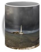 White Lighthouse Illuminated By Coffee Mug