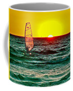 Windsurfer At Sunset On Lake Michigan From Empire-michigan  Coffee Mug
