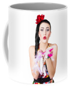Woman Blowing Feathers Coffee Mug