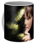 Woman Hiding Behind Fern Leaf Coffee Mug