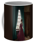 Woman In Georgian Period Dress Reading A Letter By The Window Coffee Mug