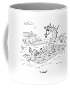 Woman Speaks To Man In A Pool With The Lochness Coffee Mug by Michael Maslin