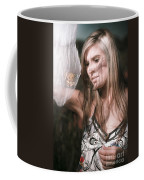 Woman With Butterfly In Net Coffee Mug