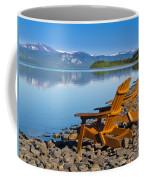 Wooden Deckchairs Overlooking Scenic Lake Laberge Coffee Mug