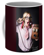 Worker In Shock During Bad News Communication Coffee Mug